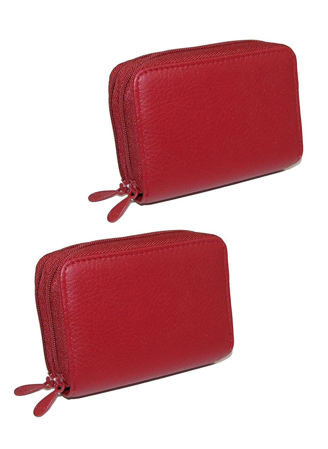 Buxton Women's Leather Mini Accordion Wizard Wallet (Pack of 2), Red BX-235SR202PKSMKIT-RED