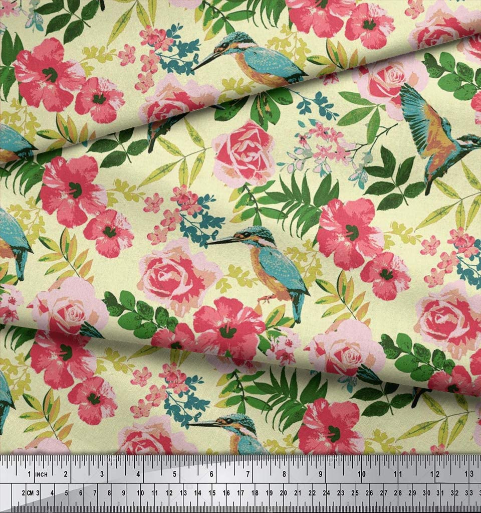 Black Soimoi 56 Inches Wide Floral Printed 60 GSM Cotton Fabric for Sewing Designer Fabric by The Meter