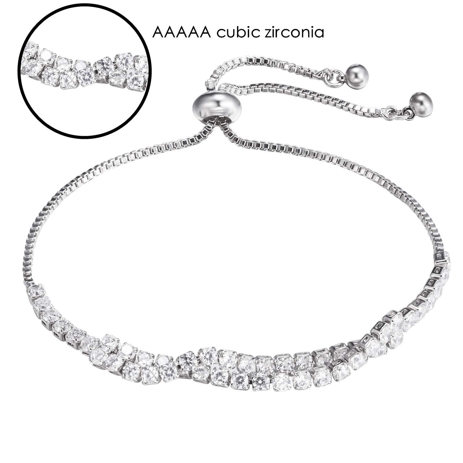 925 Sterling Silver Adjustable Chain Bracelets for Girls Women Pulseras Mujer Wedding Crystal Bracelet Charm Femme Party Fine Jewelry Friend Gift