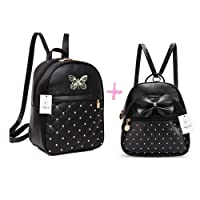 ShopyVid Girl's Cute Backpack Combo (Black) Set of 2