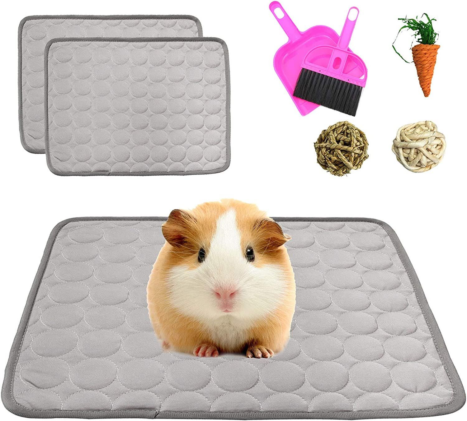 kathson Guinea Pig Cage Liners, 2 Pack Washable Pee Pads Absorbent Non-Slip Reusable Bedding Mats for Guinea Pig Rabbit Bunny Hamster Cat Puppy Small Animals