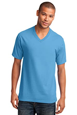 cd5f2aa56ada Port & Company Men's 54 oz 100% Cotton V Neck T Shirt 3XL Aquatic Blue