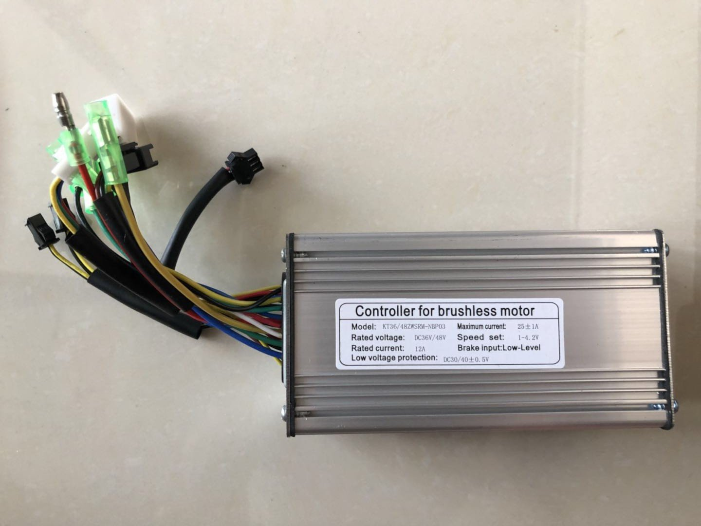 NBPower Ebike 36V/48V 1000W 25A Brushless DC Sine Wave Ebike Controller Silver Color With Regenerative Function For Electric Bike