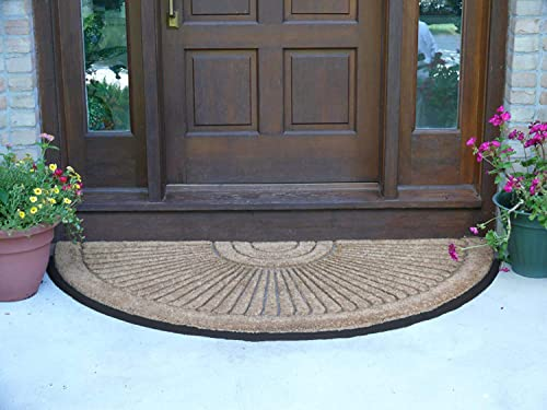 Kempf Half Round Inlaid Sun Ray Doormat, Outdoor, Entrance Mat, Extra Large Size, Double Door Entrances, Heavy Duty, 3 x 6-feet