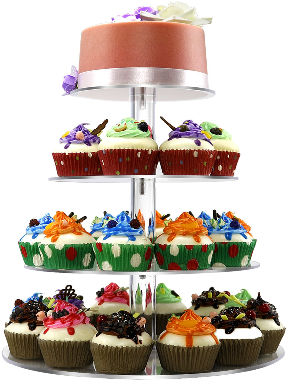 Cupcake Stand,4 Tiered Round Clear Acrylic Plastic Cupcake Stands Tower Display Tree for Wedding Birthday Treat Parties - DYCacrlic