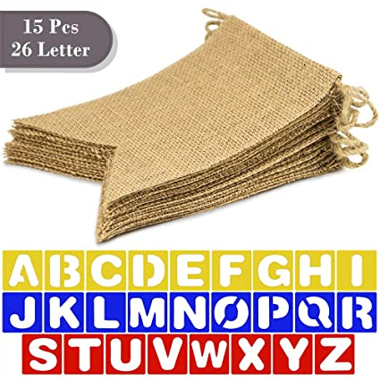 sszy burlap banner 15 pcs 75 diy blank burlap banners on 13 ft rope