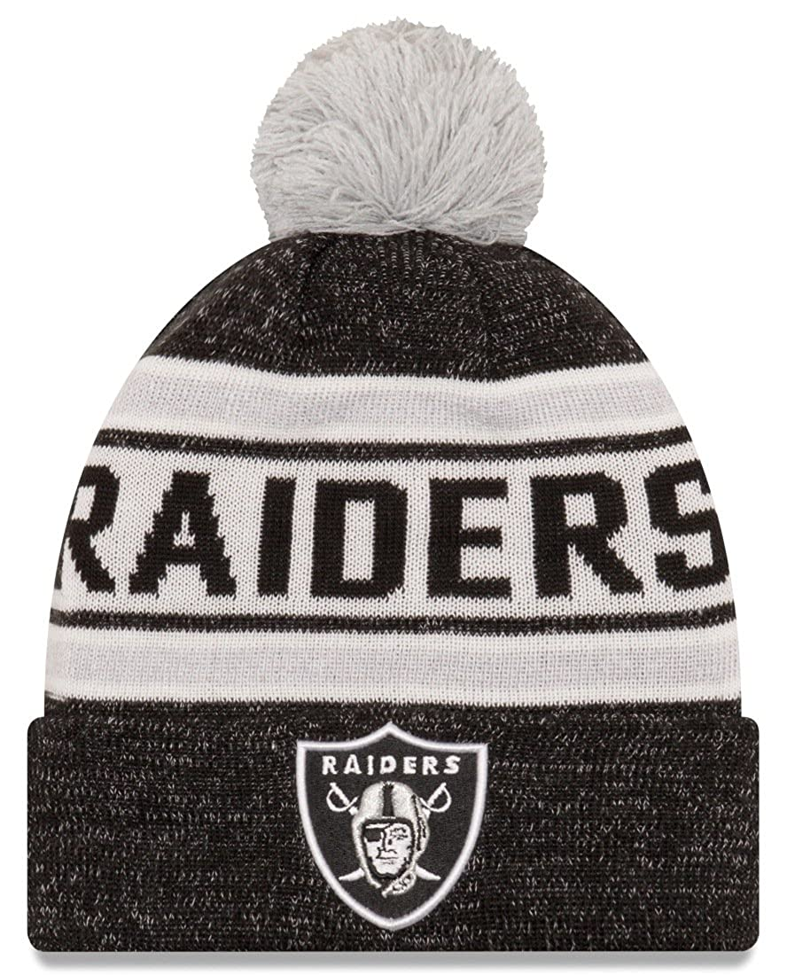 266481a6 New Era Mens Oakland Raiders Toasty Cover Cuffed Knit Hat with Pom, Black