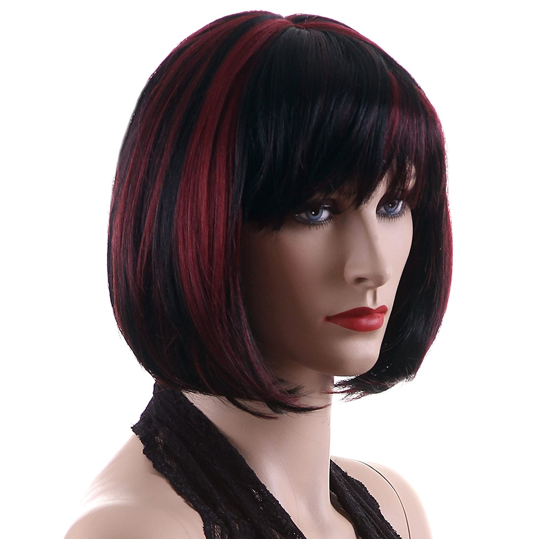Songmics peluca corta para muje con flequillo BOBO Pelo rojo + negro WFY099