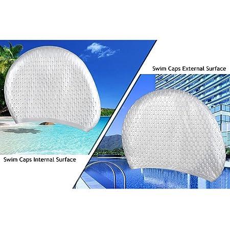 Omid - Cuffia da nuoto per capelli lunghi – Cuffia per donna in silicone di  alta qualità – Le bolle in rilievo riducono l attrito dell acqua. fd25b892d1c4