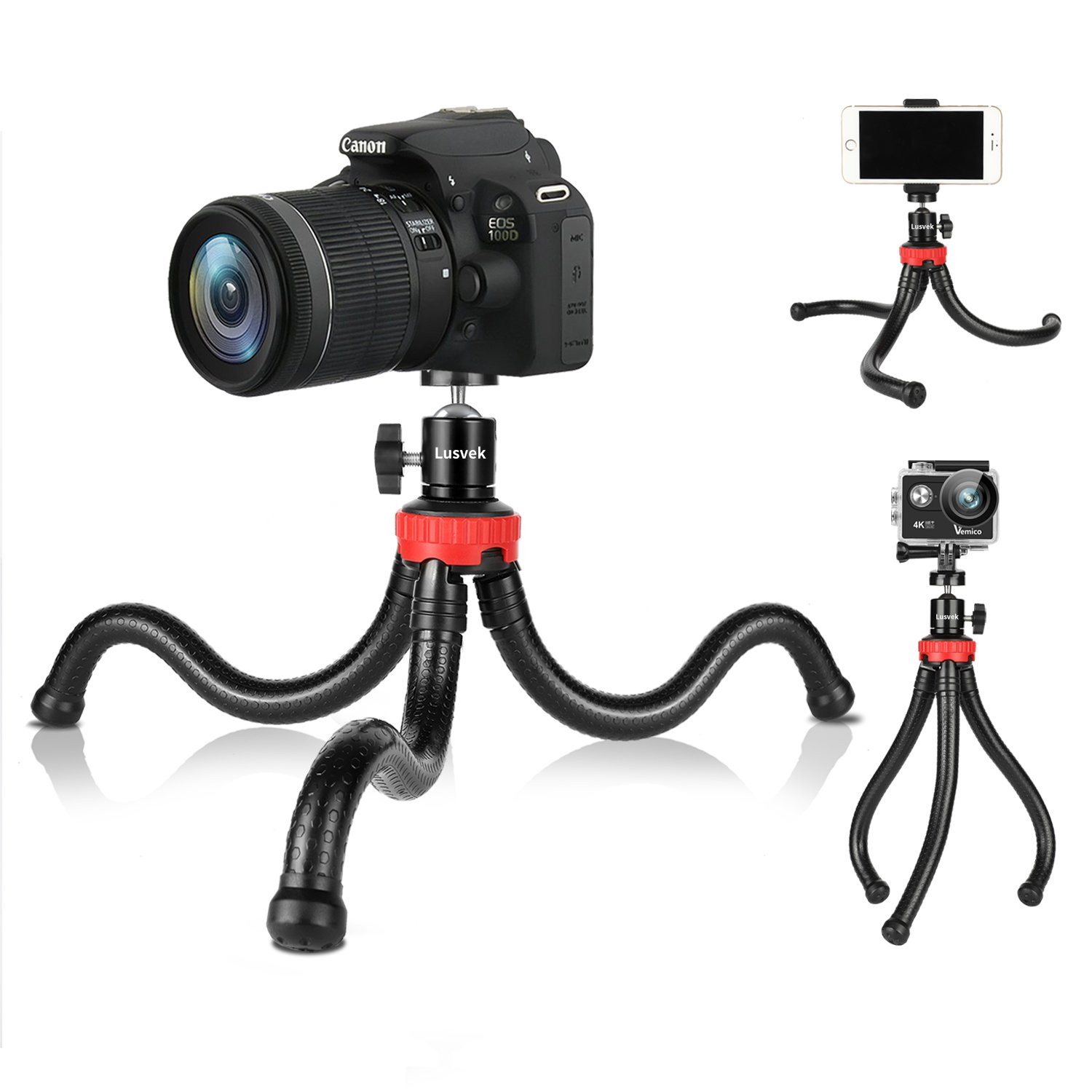 Phone Tripod,LUSVEK Flexible and Adjustable Camera Tripod with Universal Clip for iPhone, Android Phone, Camera and Gopro