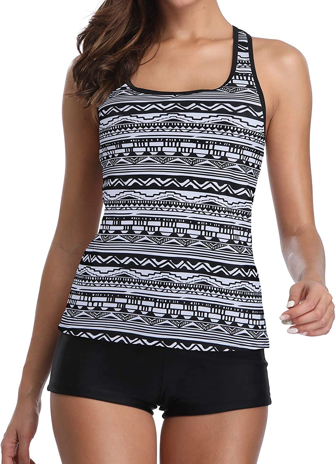 Yonique 3 Piece Athletic Tankini Swimsuit for Women Sport Swimwear with Boyshort Tank Top with Bra and Shorts