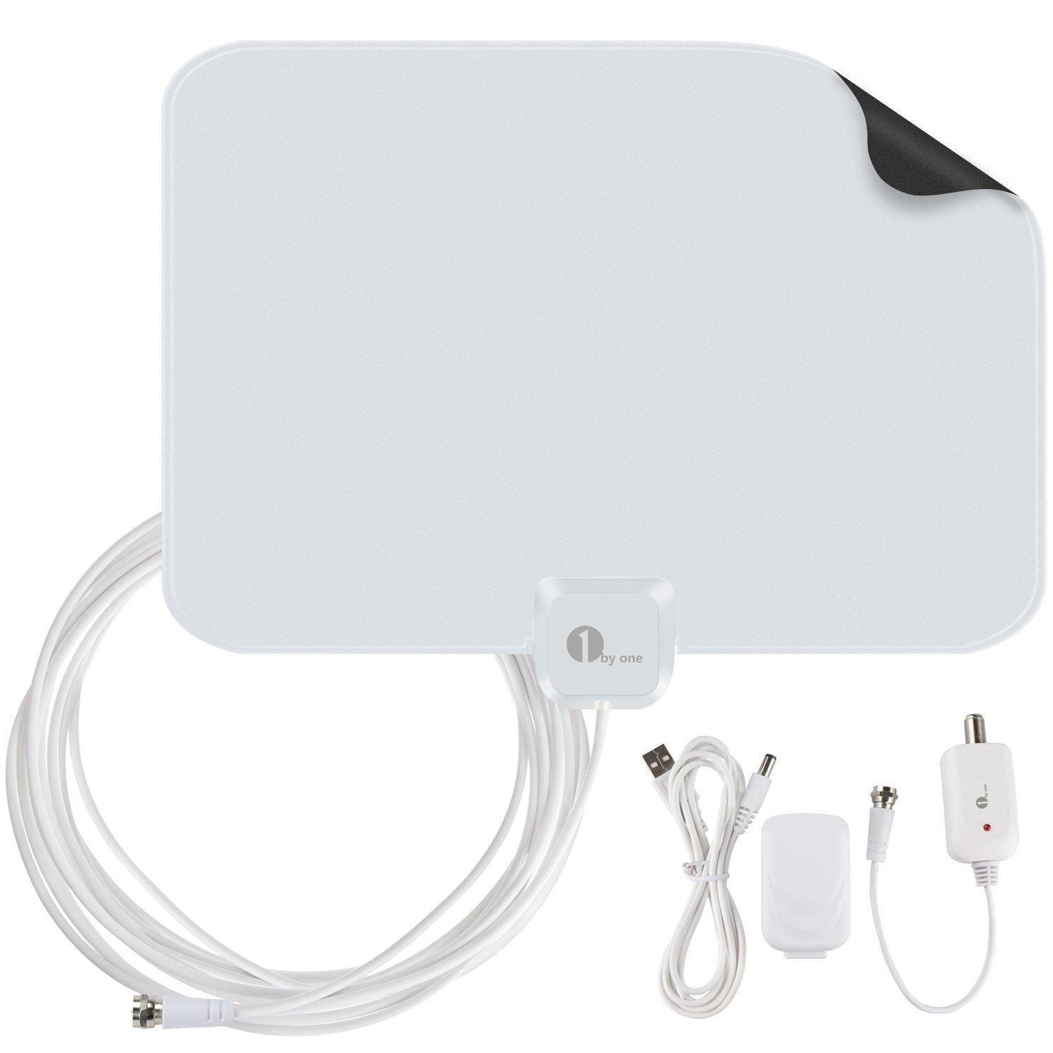 1byone 50 Miles Amplified HDTV Antenna with USB Power Supply and 20 Feet Coaxial Cable - White/Black by 1byone