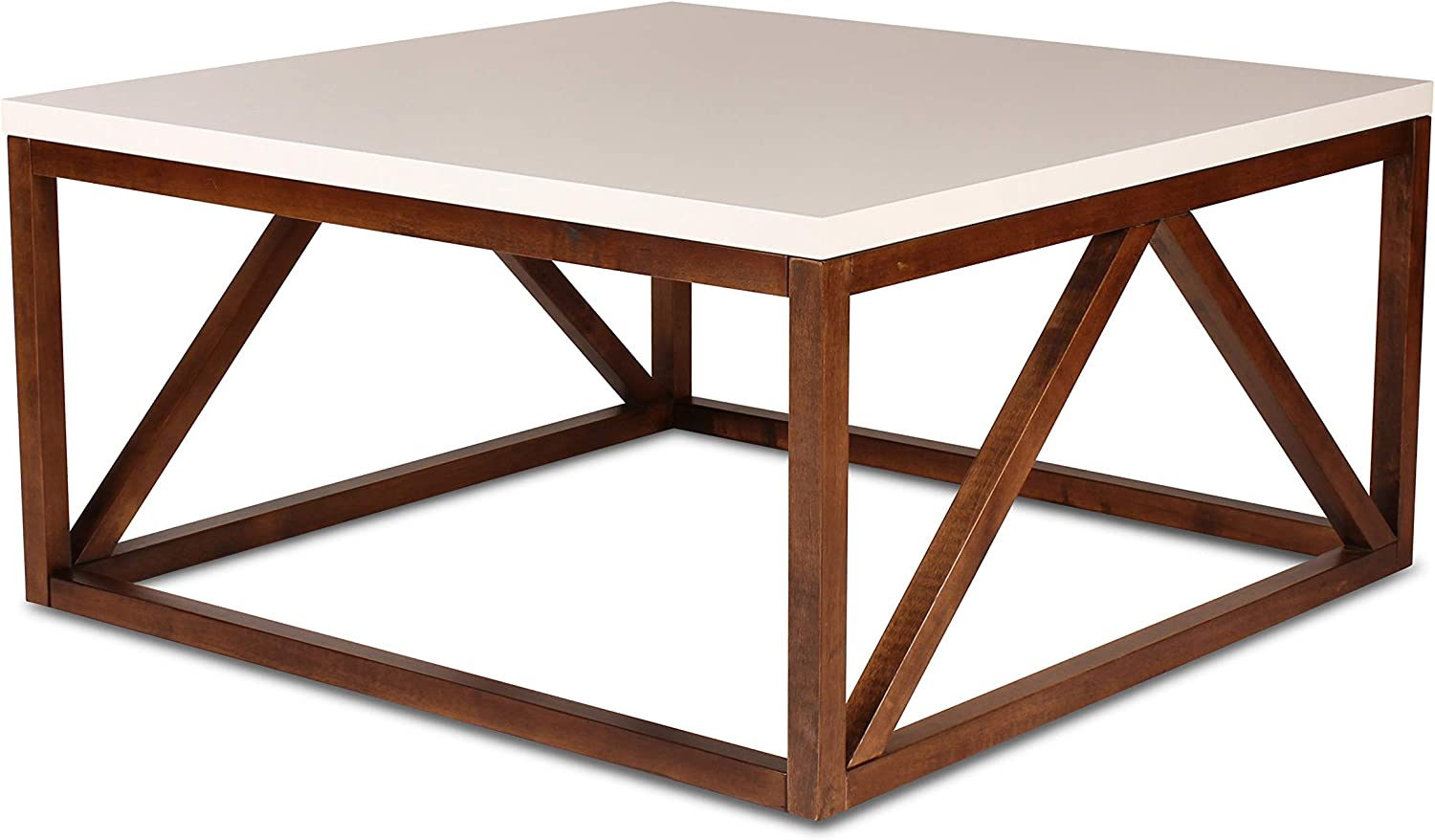 Amazon Com Kate And Laurel Kaya Two Toned Wood Square Coffee Table With White Top And Walnut Brown Base Furniture Decor