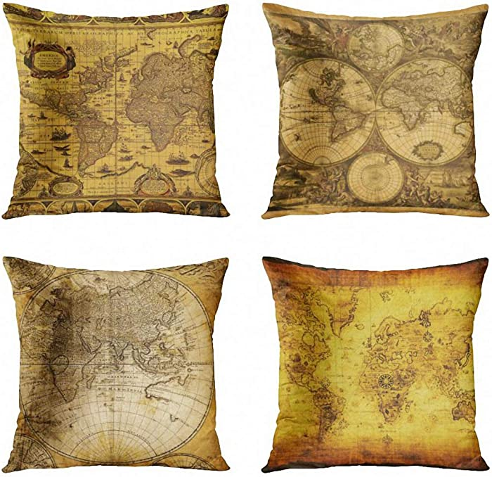 ArtSocket Set of 4 Throw Pillow Covers Vintage Old World Map Cartography Antique Sepia Discovery Continental Political Continents Decorative Pillow Cases Home Decor Square 18x18 Inches Pillowcases