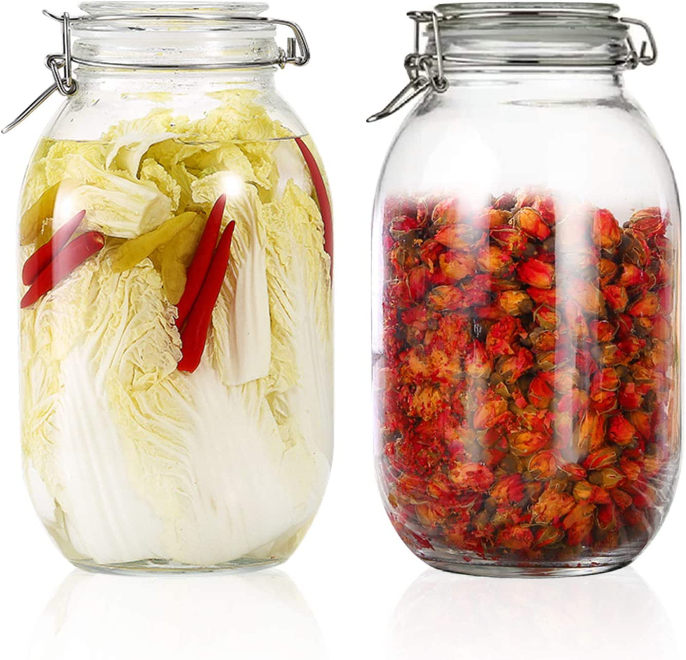 100oz/3000ml Glass Kitchen Storage Canister, Sealed Glass Jars with Lids, Airtight Glass Canister with Hinged Lid, Perfect for Kitchen Canning Cereal/Pasta/Sugar/Beans -Set of 2