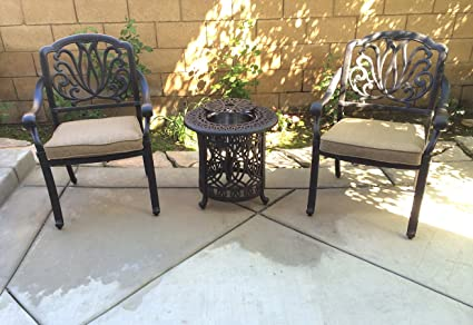 3 Piece Bistro Patio Set Conversation Outdoor Cast Aluminum Furniture  Elisabeth End Table Chairs
