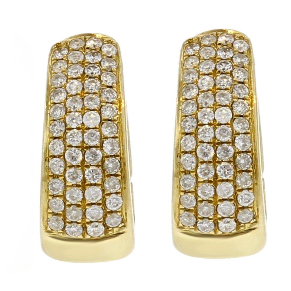 63c760dbd480d Amazon.com: 18k Yellow Gold Diamond Huggie Earrings (.55cttw, G-H ...