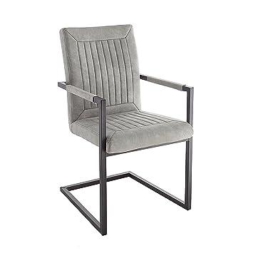 Riess Ambiente Design Freischwinger Stuhl Bristol Stone Grau Mit