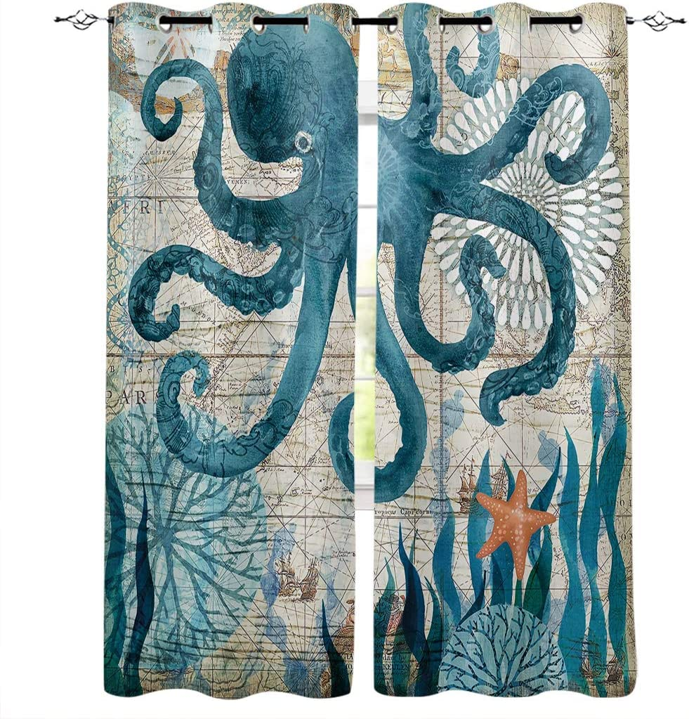 Edwiinsa Hawaiian Kitchen Blackout Curtains Window Drapes Treatment, 2 Panels Set for Kitchen Cafe Office, Coastal Sea Animal Octopus Travel Map Wildlife Theme 80W x 84L inch