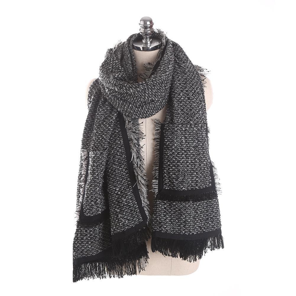 QMEI Donne Sciarpa Moda Inverno Caldo Grande Scialle Tasche Nappe , Black