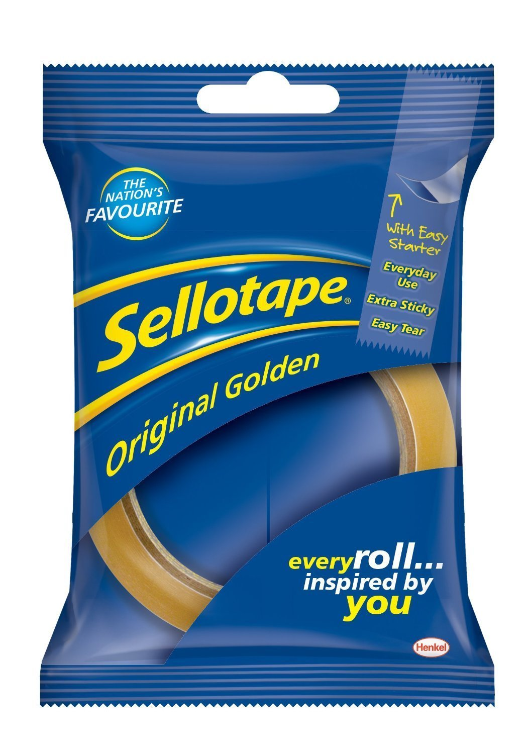 Sellotape Original Tape - 24 mm x 50 m, Golden (Pack of 3) 3xSellotape