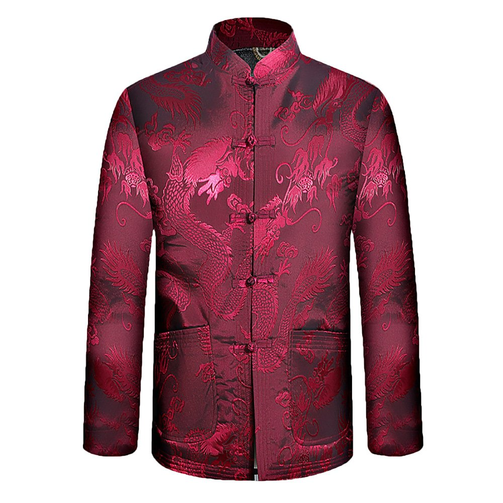 KIKIGOAL Mens The elderly Chinese-style Cotton Thick Jacket Festive Tang Suit (190, red)