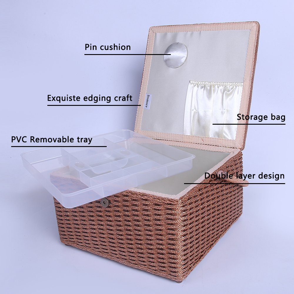 SAXTX Crafts Sewing Storage Box Containers Extra Large Double Layer with Tray,Handmade Embroidery Sewing Basket with Multiple Compartments Best Gift Boxes for Mother,13.4x 13.4x 8