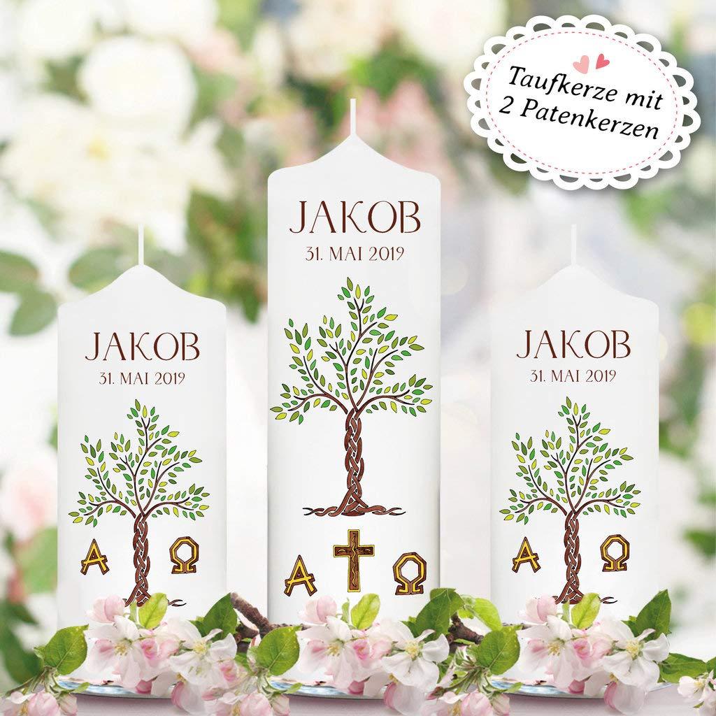 Patenkerze M/ädchen Junge Kerze wei/ß 17 x 7 cm mit Name und Datum Wandtattoo Loft Taufkerze f/ür Paten Lebensbaum Baum