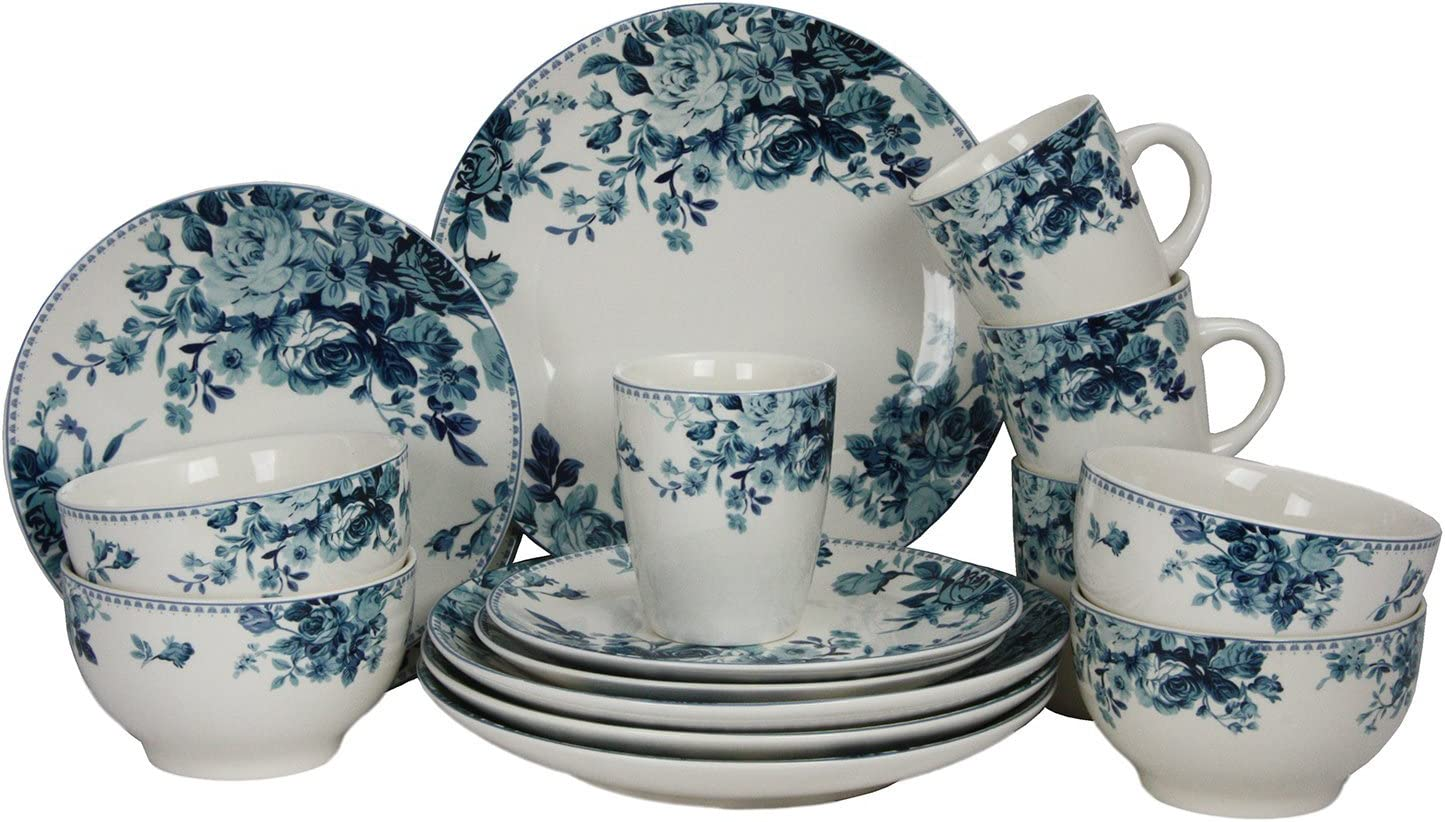 Elama Round Stoneware Colored Pattern Dinnerware Dish Set, 7 Piece, White  with Blue Rose Accents