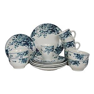 Elama 16 Piece Traditional Rose Dinnerware Set, Blue