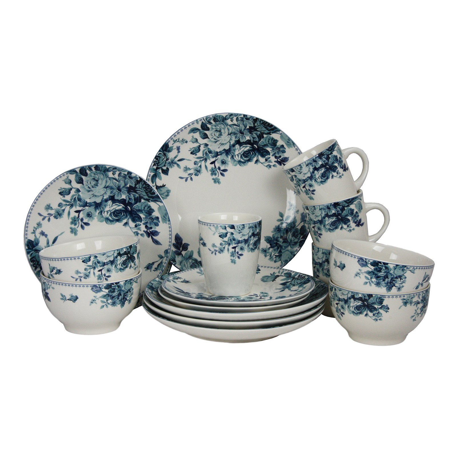 Elama 16 Piece Traditional Rose Dinnerware Set, Blue