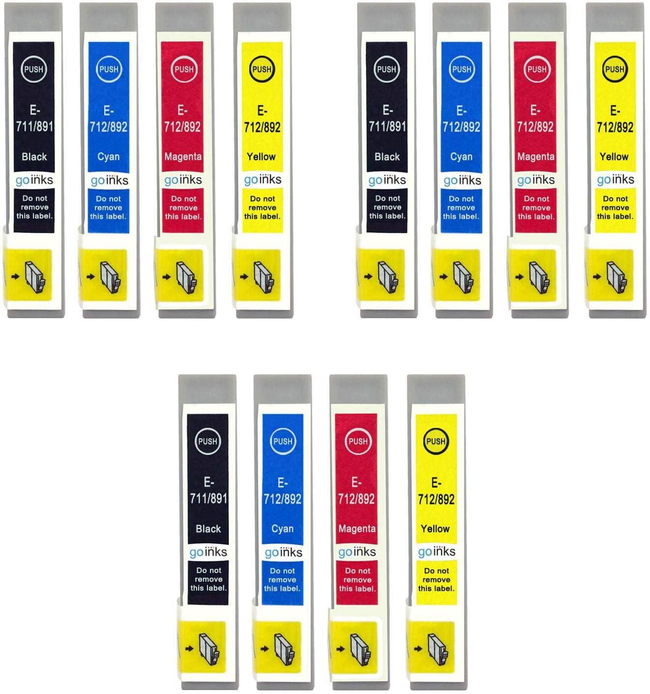 Go Inks E 715 Kompatibler Satz Mit 4 Tintenpatronen Als Ersatz Für Epson T0711 T0712 T0713 T0714 T0715 Zur Verwendung Mit Epson Stylus Druckern 12 Stück Bürobedarf Schreibwaren