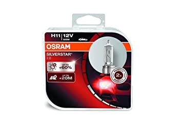 Osram 64211SV2-HCB Silverstar 2.0 H11 Lámpara Halógena de Faros, Duo: Amazon.es: Coche y moto