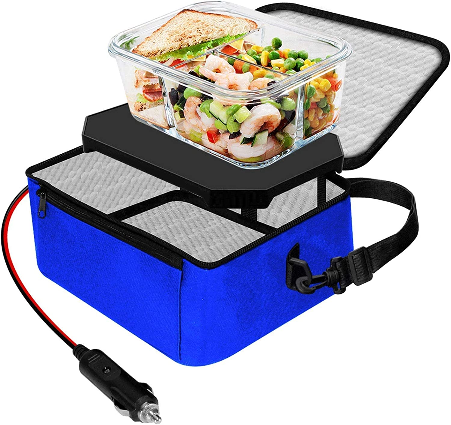 TrianglePatt Personal Portable Oven, 24V Food Warmer Portable Mini Microwave for heated Meals, Upgraded Lunch Warmer Box with Bag for Truck, Crane, and Potlucks