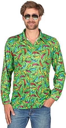 Andrea Moden Pop Banana Hippie Camisa Retro para Hombre - Verde - Divertido Disfraz de Fiesta de Tema 60s 70s Festival de Schlagermove Carnival Bachelor Party (44/46): Amazon.es: Juguetes y juegos