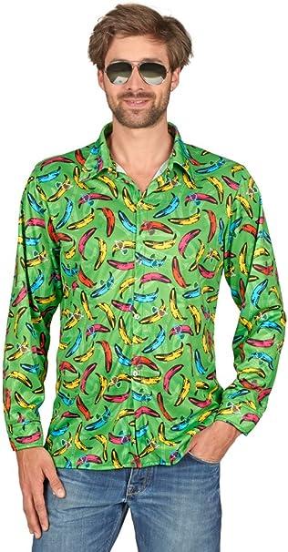 Andrea Moden Pop Banana Hippie Camisa Retro para Hombre - Verde - Divertido Disfraz de Fiesta de Tema 60s 70s Festival de Schlagermove Carnival Bachelor Party (40/52): Amazon.es: Juguetes y juegos