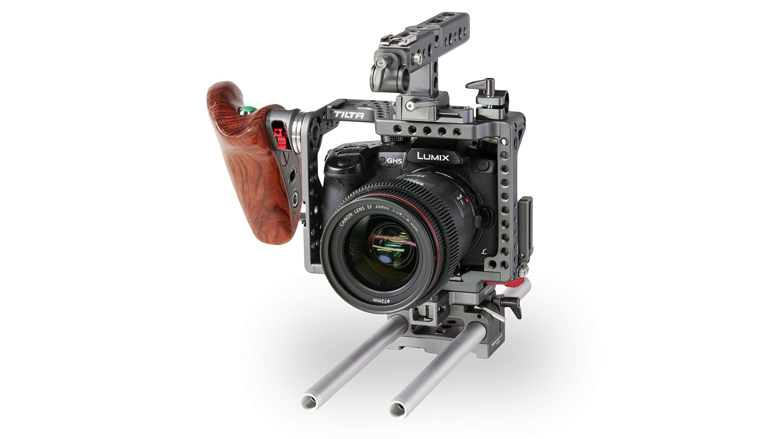 Camera Cage for Panasonic GH Series, Wooden Handle 2.0 None by Tilta