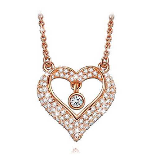 LADY COLOUR Dancing Stone True Love Heart Pendant Necklace Made with Swarovski Crystals – My Heart Beats for You Hypoallergenic Jewelry Gift Box Packing, Nickel Free Passed SGS Test