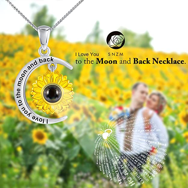 I Love You to The Moon and Back Necklace Love Languages Jewelry Gifts for Mom Wife SNZM Sunflower Pendant Necklace for Women Girlfriend