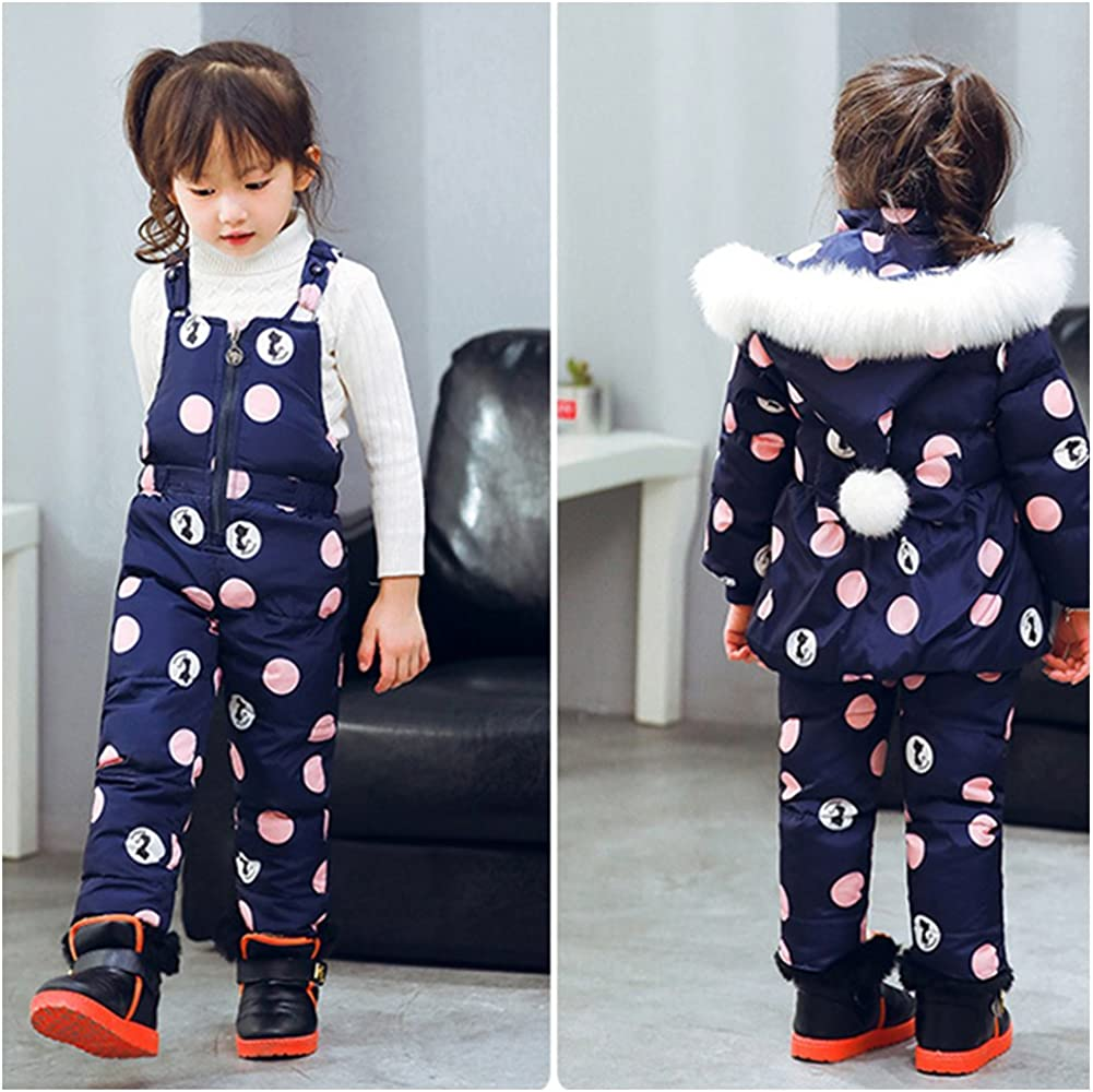 M/&A Infant Baby Girls Bubble Snowsuit Hooded Puffer Jacket and Snow Bibs