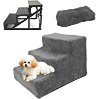 Pet Stairs 3 Steps Portable Cat Dog Ladder w/Cover Step Ramp Climb for Pup Play (Grey)