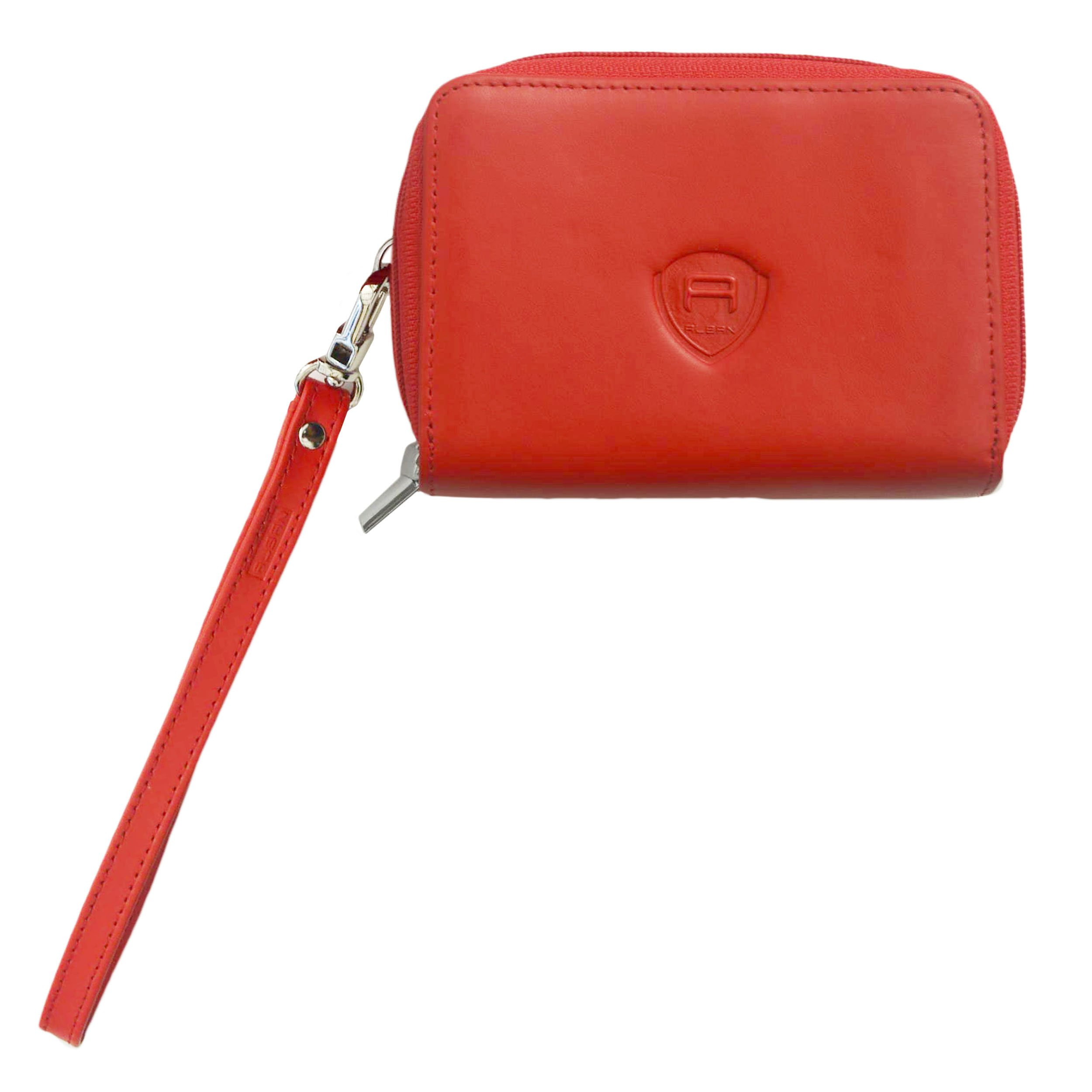 Alban Women's Soft Leather''Accordion Style'' RFID Blocking Wallet Wristlet (Red, Wrist Strap)