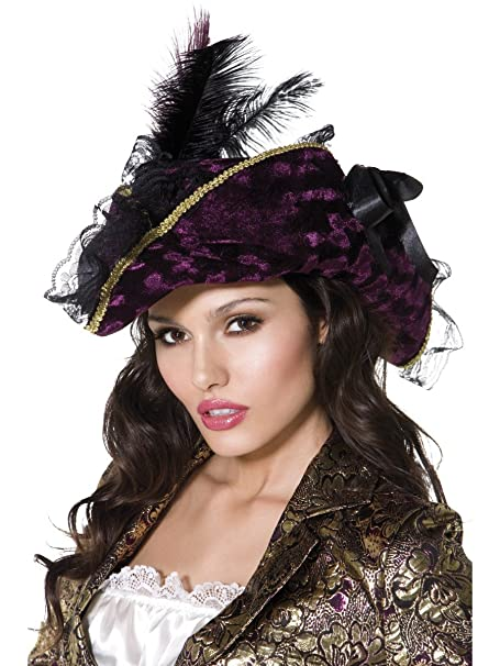 Purple & Black Velour Marauding Women's Pirate Hat Costume Accessory with Gold Braid, Lace Trim, Black Ribbons, and Black & Purple Feathers by Fever