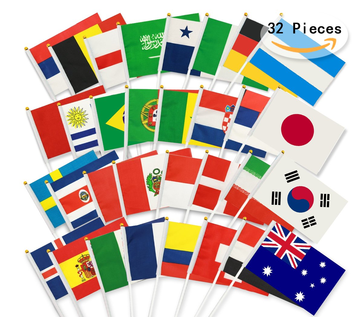 Bemomo 32pcs World Cup Hand Waving Flags, Russia 2018 World Cup Hand Waving Flags, Football Stick Flag Top 32 Nations Fabric Bunting Flags for Football Night, Bar banners,Garden Banners, Party Decoration Bemomo Factory