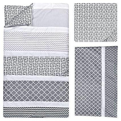 Amazon Com 3 Piece Grey White Black Baby Colorful Crib Bedding Set