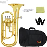 Aklot Bb Baritone Horn Silver Plated Mouthpiece Gold Lacquered Brass Body Stainless Steel Valves with Case