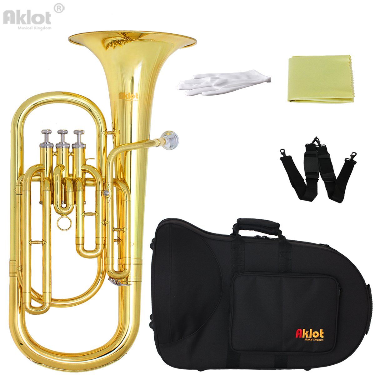 Aklot Bb Baritone Horn Silver Plated Mouthpiece Gold Lacquered Brass Body Stainless Steel Valves with Case Ltd