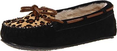 Minnetonka Leopard Cally Slipper, Damen Pantoffeln, Beige (Cinnamon), 38 EU/7 US