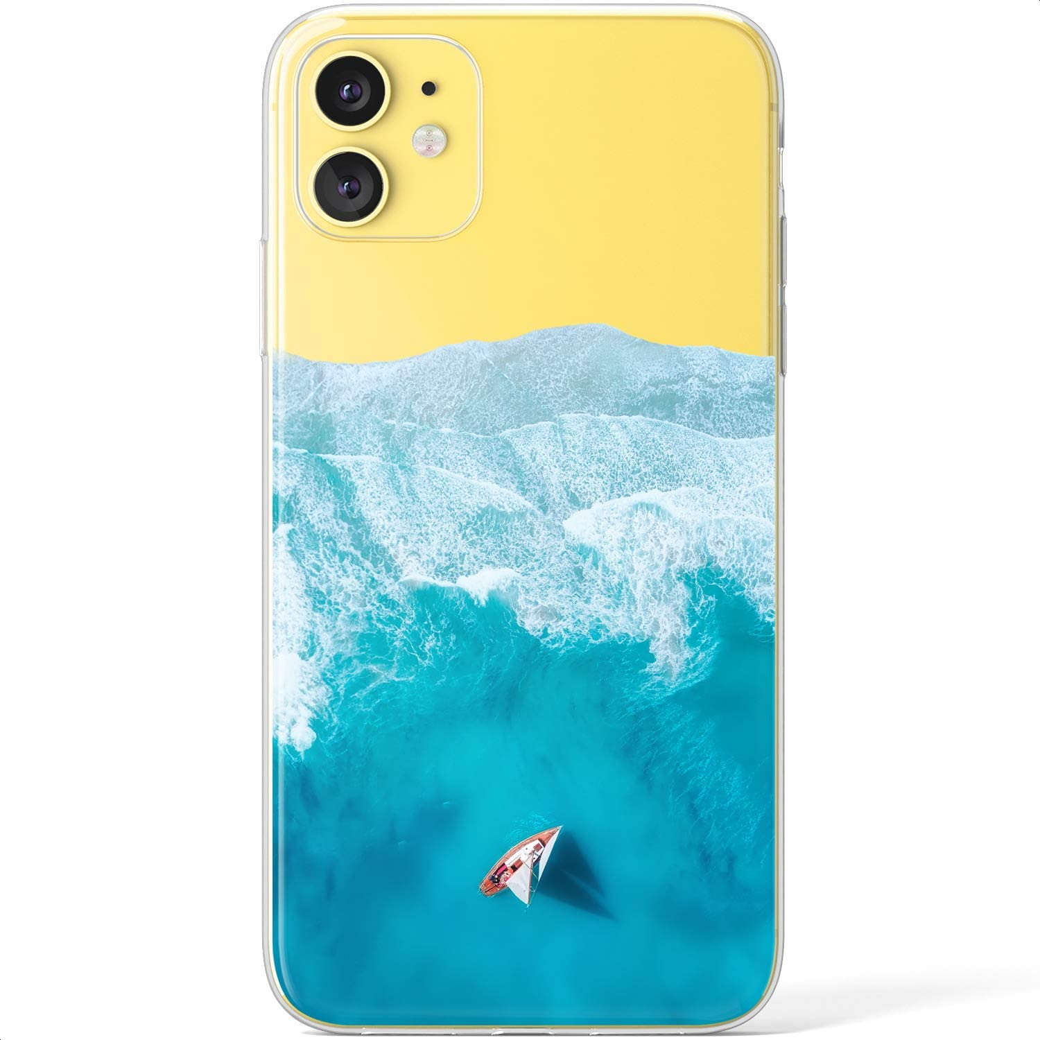 Mertak Clear Case Compatible with iPhone 12 Pro Max Mini 11 SE 10 Xr Xs 8 Plus 7 6s 5s Flexible Cover Protective Sailboat Beach Sea TPU Design Tides Slim Blue Ocean Blue Silicone Lightweight