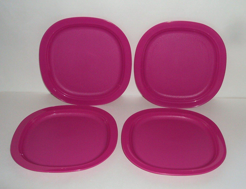 Tupperware Set of 4 Open House Microwave 7 3/4 Inch Dessert Plates Fuchsia Pink
